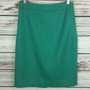 J.Crew Size 4 Green Wool No. 2 Pencil Skirt